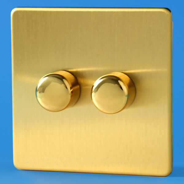 Brushed Brass Light Switches: Varilight 2 Gang 1 Way 2x250W Rotary Dimmer Light Switch Screwless Brushed  Brass HDB2S,Lighting