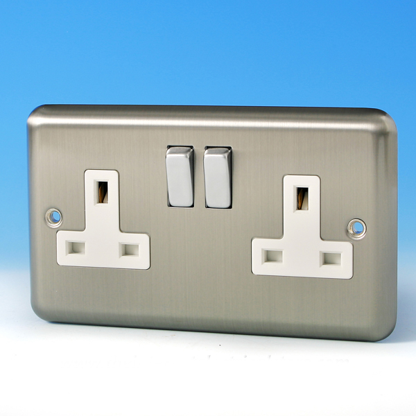 Varilight 2 Gang 13 Amp Switched Electrical Plug Socket