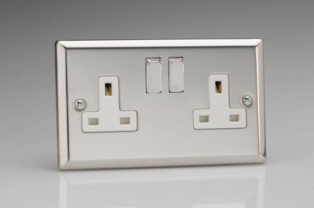Varilight 2 Gang 13 Amp Switched Electrical Plug Socket Mirror Chrome Dec Switch White Insert XC5DW