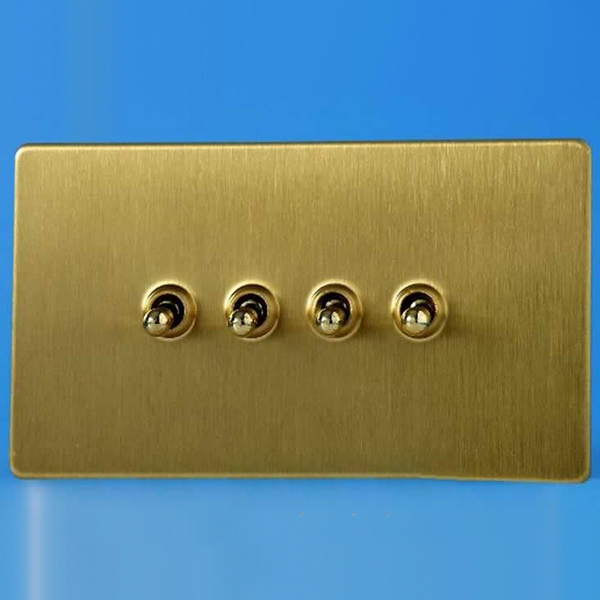 Brushed Brass Light Switches: Varilight 4 Gang 10A 1 or 2 Way Dolly Toggle Light Switch Screwless Brushed  Brass Finish XDBT9S,Lighting