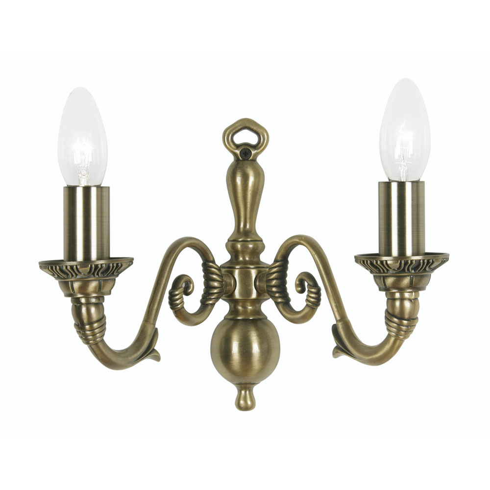 Amaro 2x60w Wall Light Fitting In Antique Brass Oaks