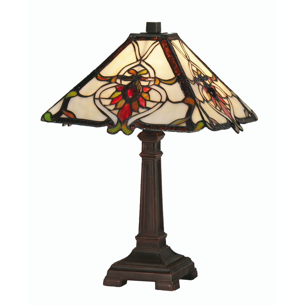 Bardane 1x60w tiffany glass 12 inch table bedside lamp for 12 inch bedside table