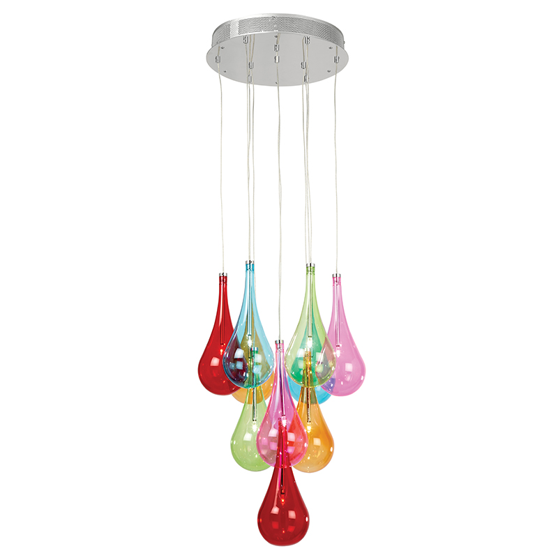 Endon 10 light Ceiling Fitting With Raindrop Shaped Multi-Coloured Glass  Shades - NIRO-10MULTI