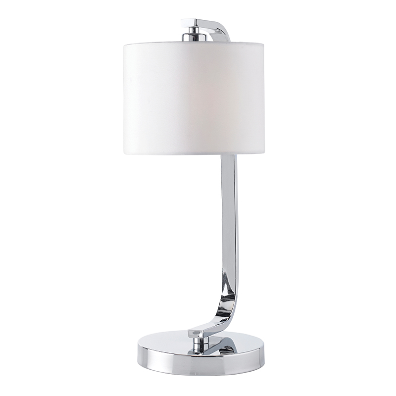 Endon canning tlch chrome touch table bedside lamp with for Bedside table lamp shades