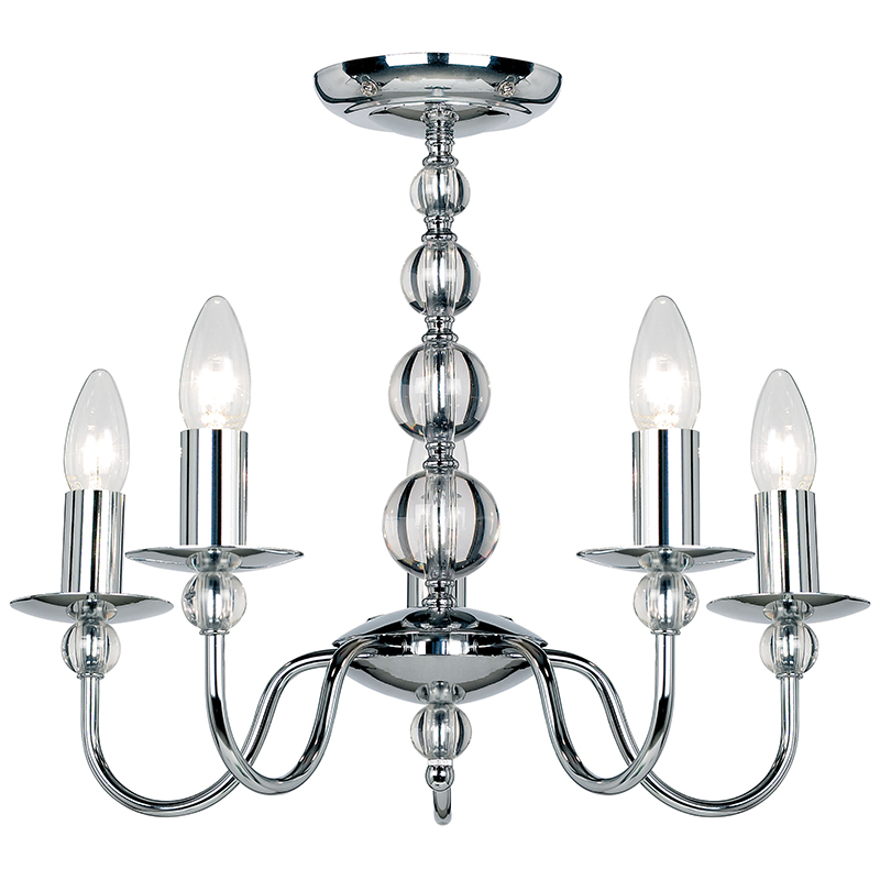 Ceiling Light 5 Arm Chrome : Endon lighting arm polished chrome ceiling light fitting