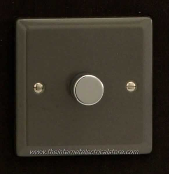 gang 1 way 400w rotary dimmer light switch graphite 21 finish hp1. Black Bedroom Furniture Sets. Home Design Ideas