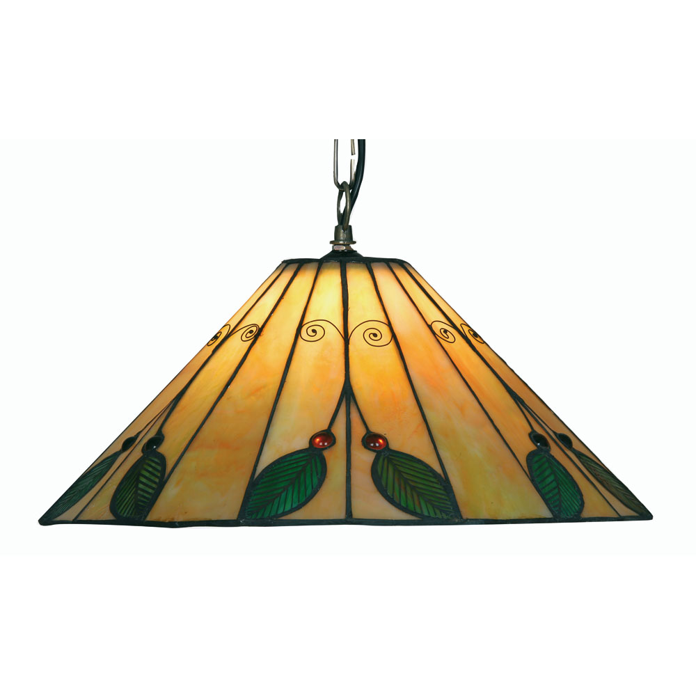 Hanging Light Fittings Wholesale: Leaf 1x100w Tiffany Glass Floral Ceiling Hanging Light