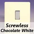 Screwless Chocolate White Rocker Light Switches