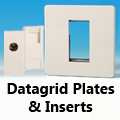 Screwless Premium White - Datagrid Plates & Inserts (Telephone, CAT5, TV, SAT etc)