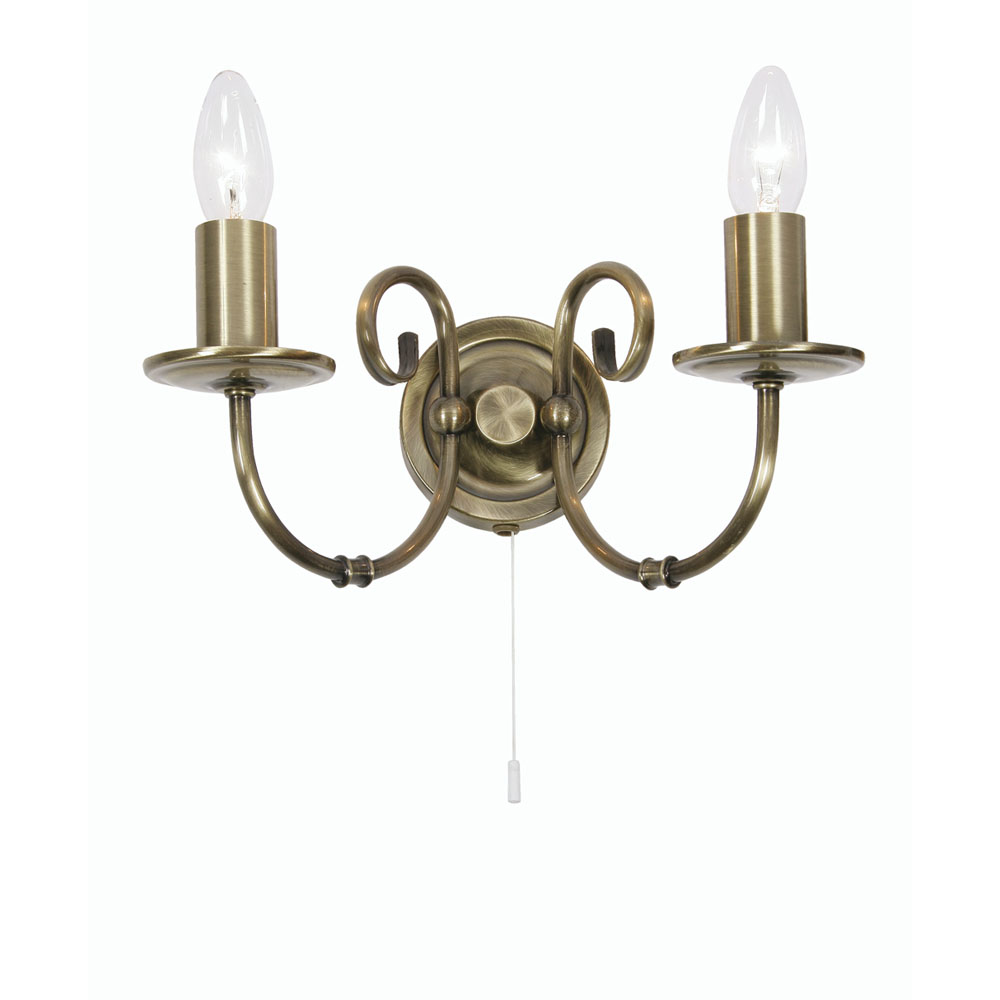 Candle Wall Light Fittings : Tuscany 2x60w Candle Style Wall Light Antique Brass - Oaks Lighting 3380 2 AB