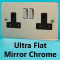 Ultra Flat Mirror Chrome 13 Amp Switched Plug Sockets