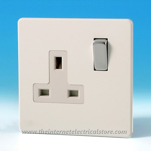 Varilight 1 Gang 13 Amp Switched Electrical Plug Socket Screwless Premium White Dec Switch XDQ4WS