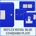 Varilight Lily Reflex Royal Blue Switches & Sockets Standard Plate