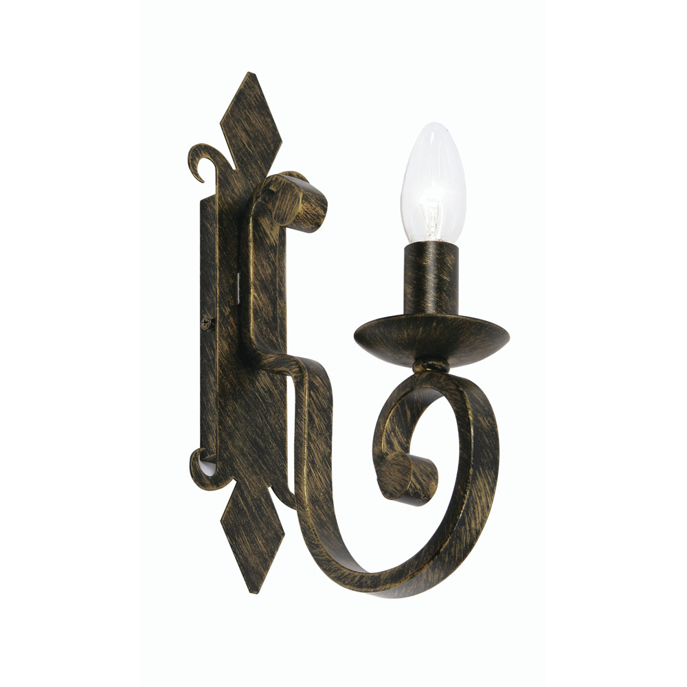 Carlisle 1x60w Decorative Candle Wall Light Fitting In Black Gold 8675 1 Bg