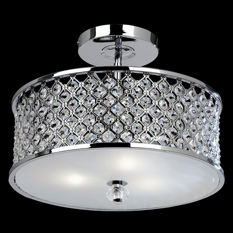 Endon 3 Light Ceiling Fitting In Chrome With Crystal Beads And Glass Diffuser