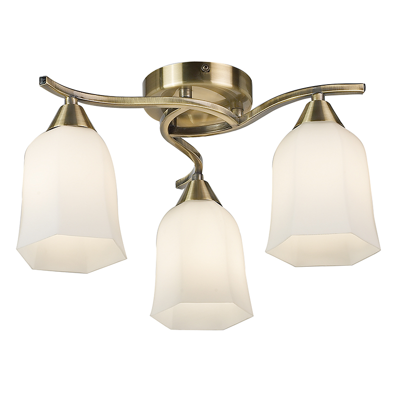 Endon Lighting 3 Arm Ceiling Light Ing In Antique Br Finish 3x40w 96973 Ab