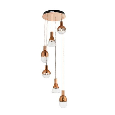 endon lighting 6 light spiral ceiling fitting in copper with clear