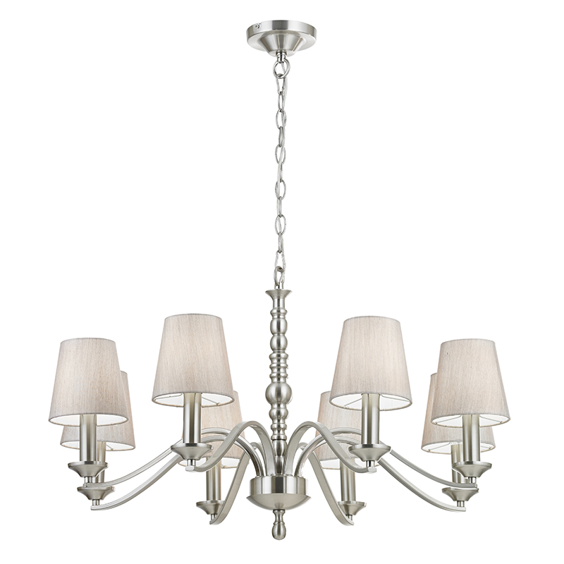 Endon Lighting 8 Light Ceiling Ing In Satin Nickel With Fabric Shades Astaire 8sn