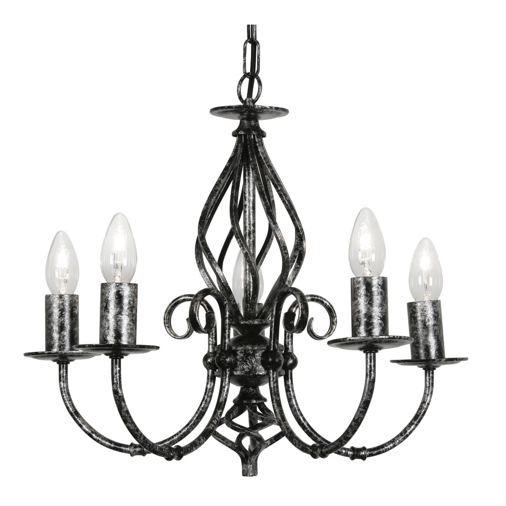 tuscany 5x60w candle style hanging light fitting black