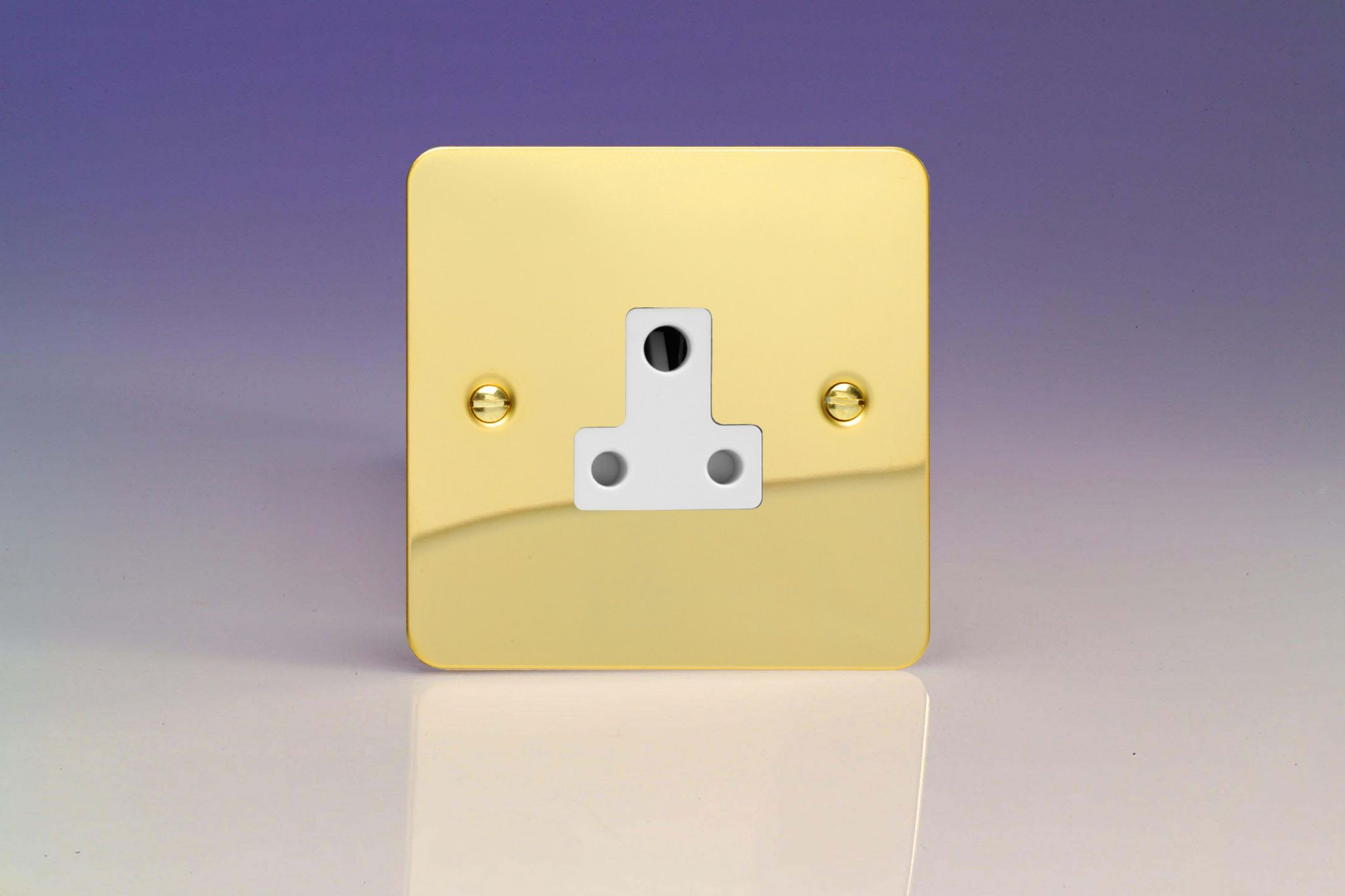 Varilight 1 Gang 5a Round Pin Socket In Ultraflat Plate Victorian Wiring Lighting Sockets Brass With White Inserts