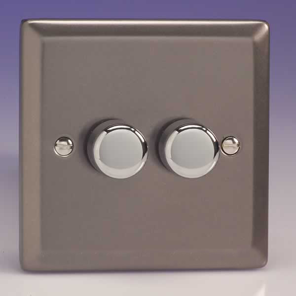 Varilight Gang Way Rotary Dimmer Light Switch Pewter Slate Grey Finish