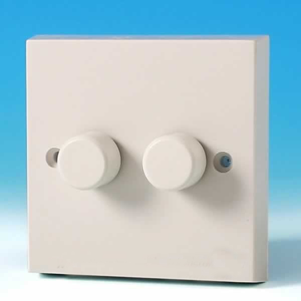 Varilight 2 Gang 1 Way 2x250w Rotary Dimmer Light Switch White Plastic White Knob Hq2w