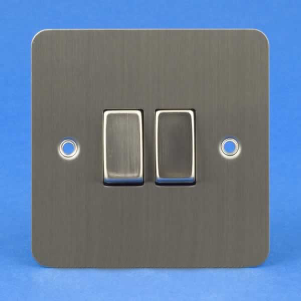 varilight 2 gang 10a 1 or 2 way rocker light switch ultra flat brushed steel xfs2d