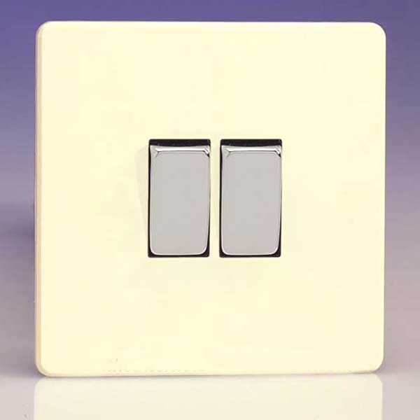 varilight 2 gang 10a intermediate switch 10a 1 or 2 way rocker switch less chocolate white