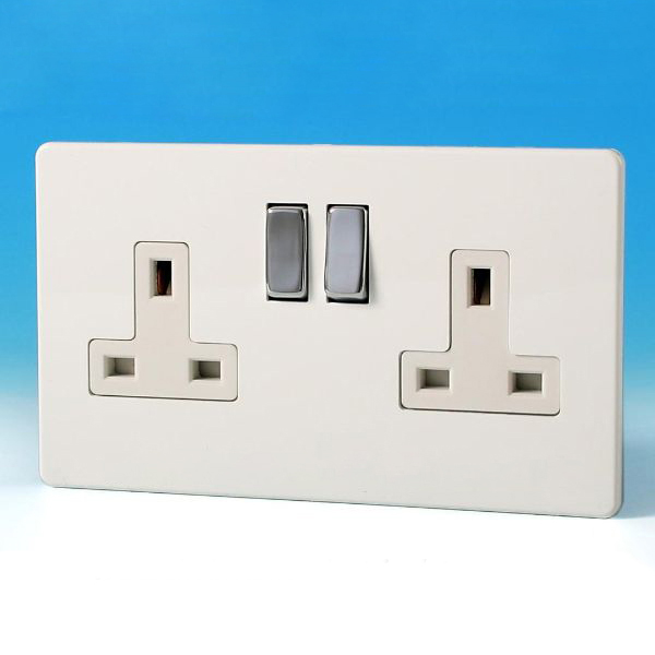 Varilight 2 Gang 13 Amp Switched Electrical Plug Socket Screwless ...