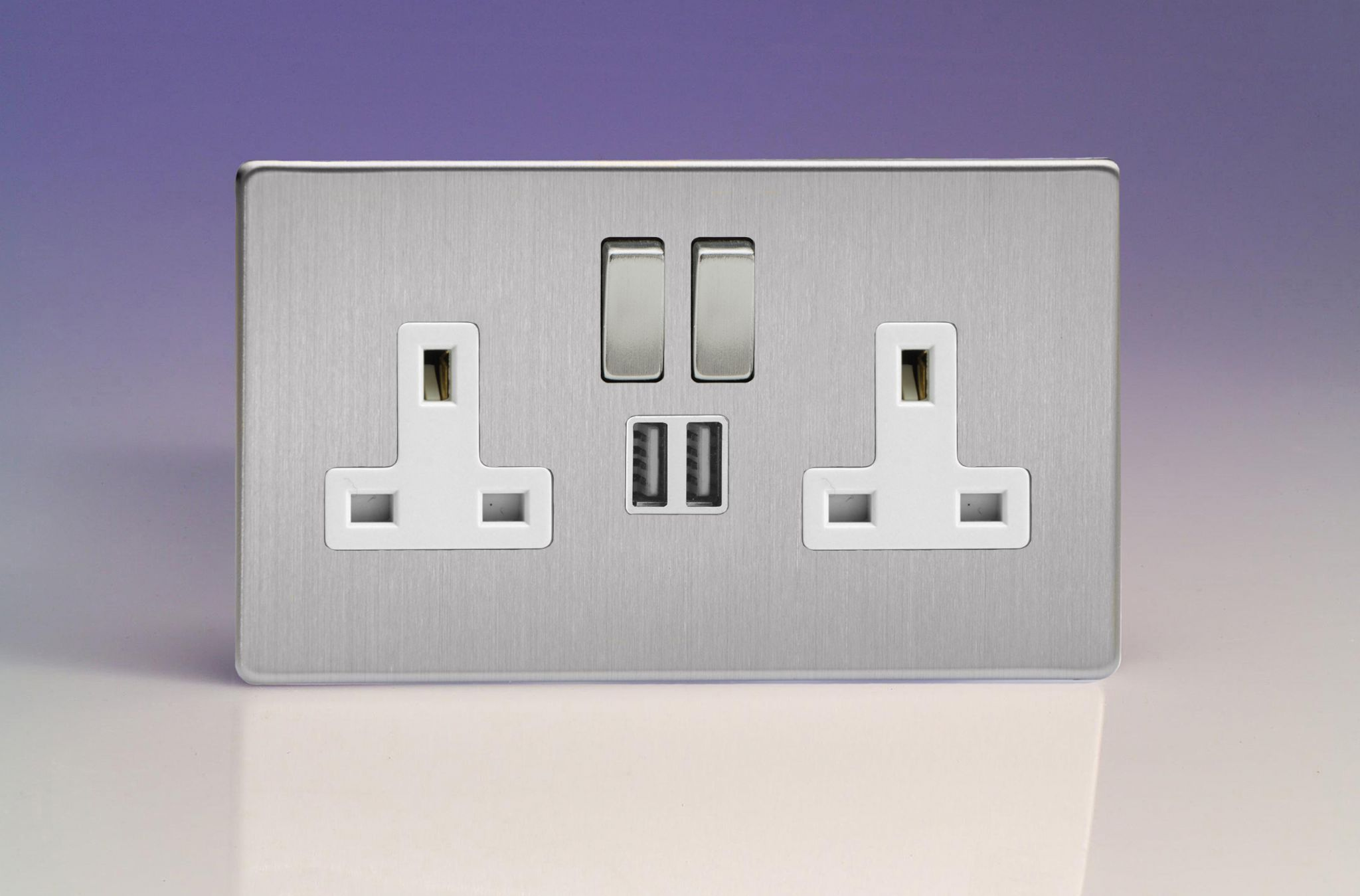 Varilight 2 Gang 13a Double Pole Switched Socket With Metal Rockers 3 Way Switch Usb Ports Brushed Steel