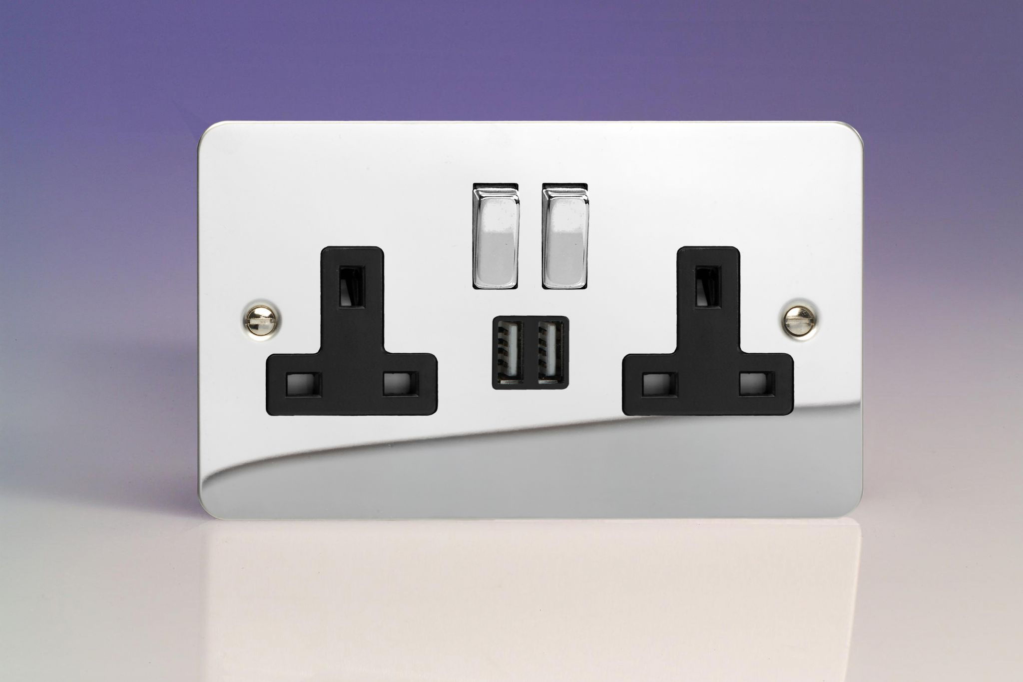 Varilight 2-Gang 13A Double Pole Switched Socket with Metal Rockers ...