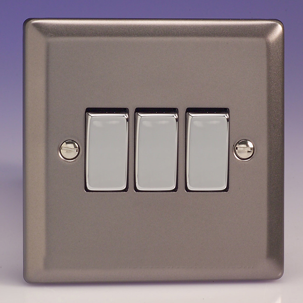 Varilight 3 Gang 1 or 2 Way 10A Rocker Light Switch Pewter Slate ...