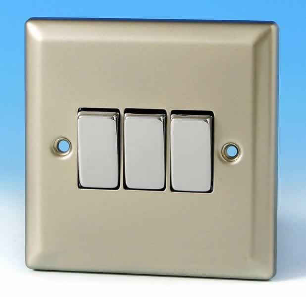Varilight 3 Gang 1 Or 2 Way 10a Rocker Light Switch Satin