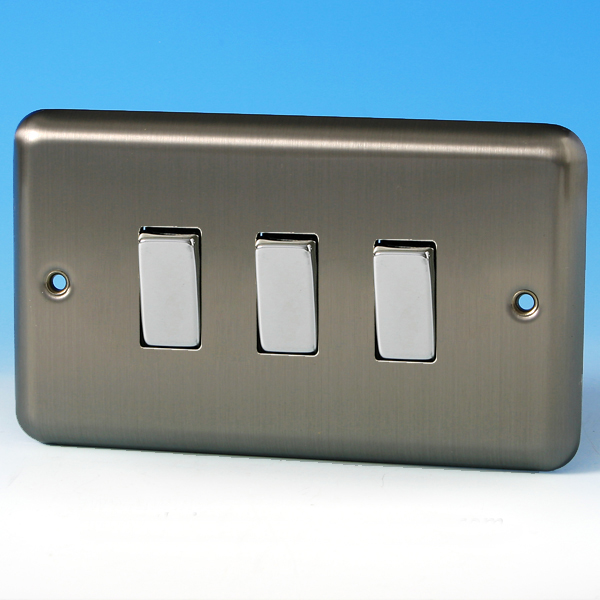 Varilight 3 Gang 1 Or 2 Way 10a Rocker Light Switch Twin