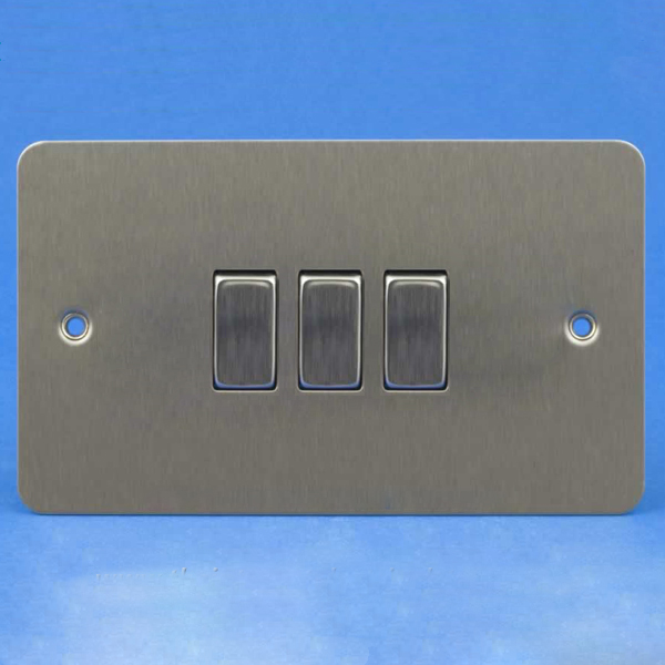 Varilight 3 Gang 1 or 2 Way 10A Rocker Light Switch Ultra Flat