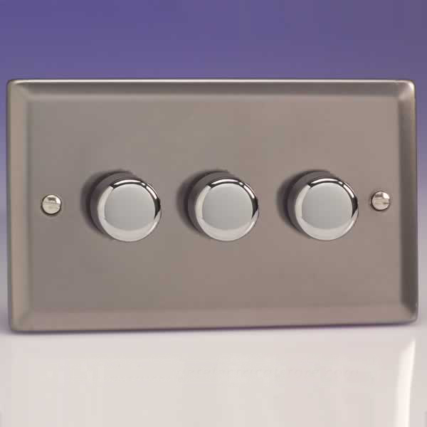 Varilight 3 Gang 1 or 2 Way 3x400W Push on off Dimmer Light Switch ...