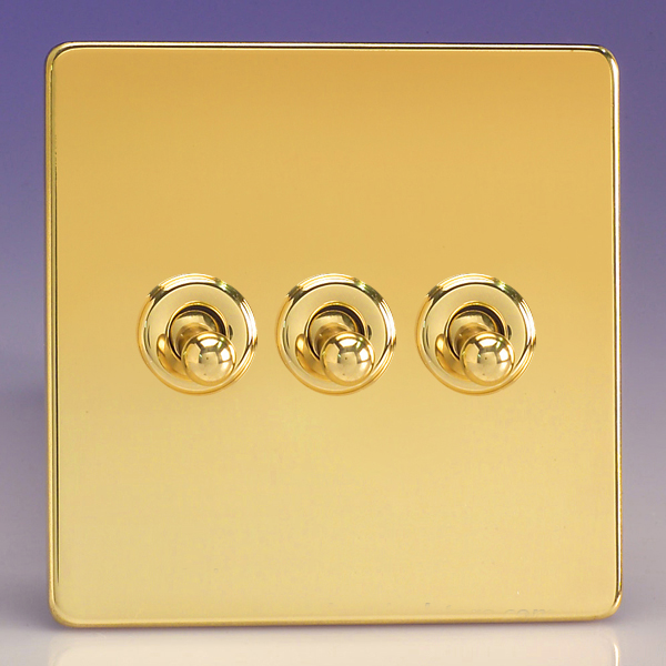 Varilight 3 Gang 10a 1 Or 2 Way Dolly Toggle Light Switch