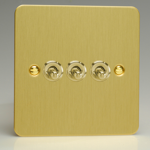 or 2-Way Toggle Light Switch Brushed Brass XFBT2 Varilight 2-Gang 10A 1