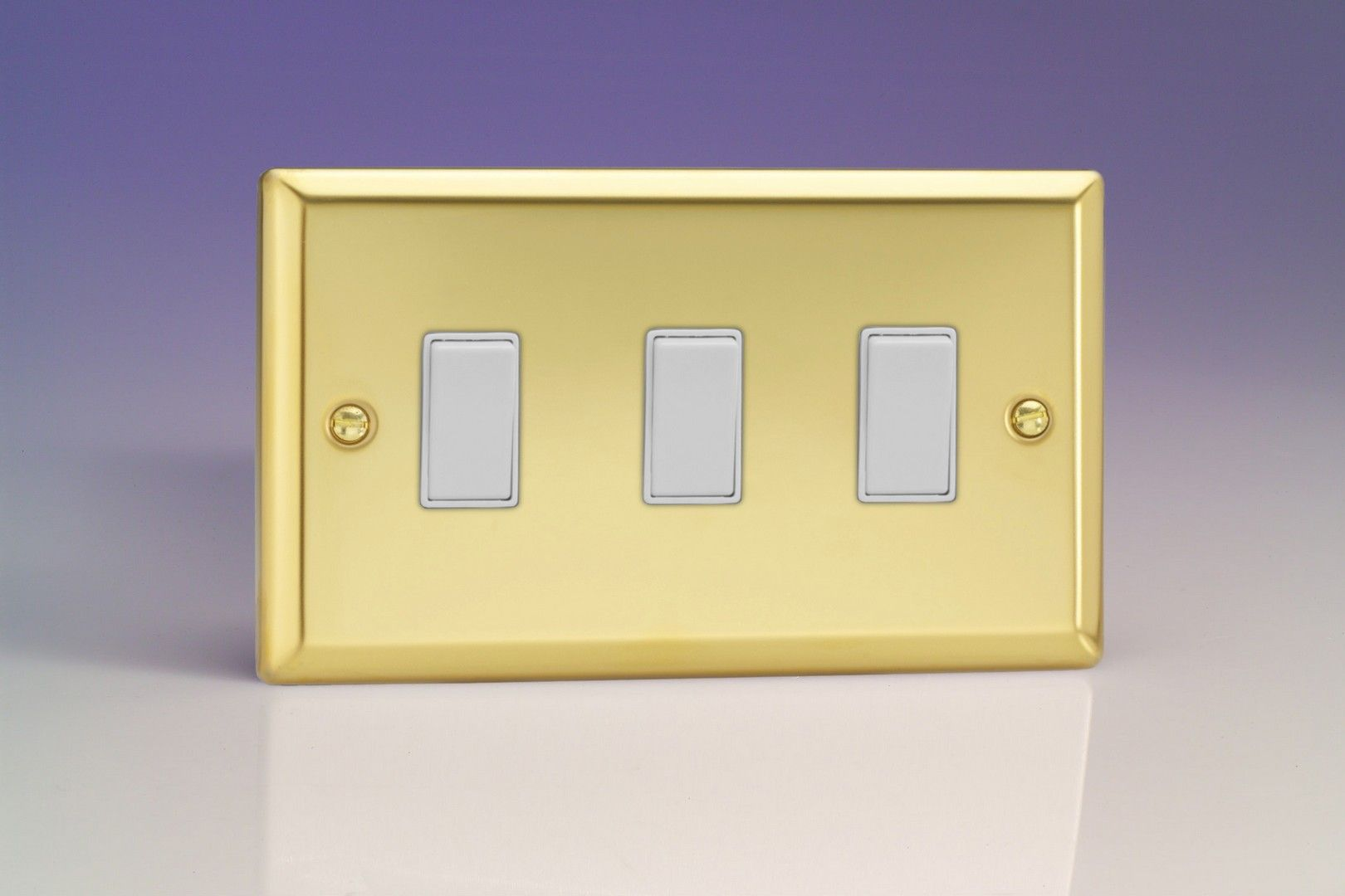 Varilight 3 Gang 10a 1 Or 2 Way Rocker Switch Twin Plate Victorian Light Brass White Insert Xv93w