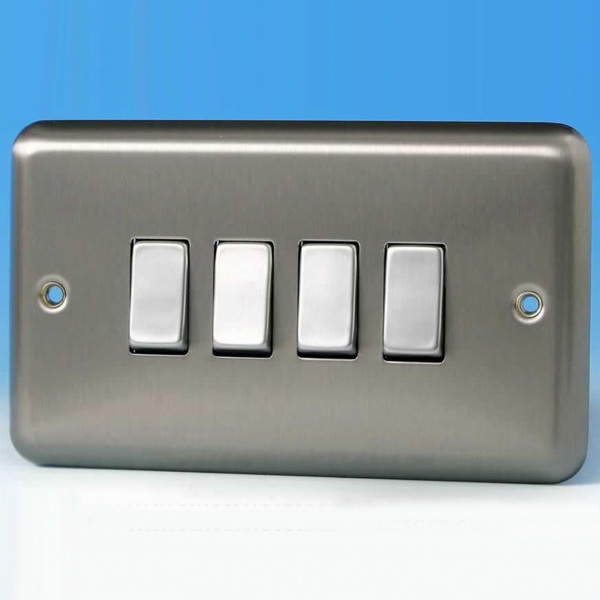 Varilight 4 Gang 1 Or 2 Way 10A Rocker Light Switch Brushed Matt - 4 Way Rocker Light Switch