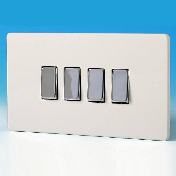 Varilight 4 Gang 1 or 2 Way 10A Rocker Light Switch Screwless