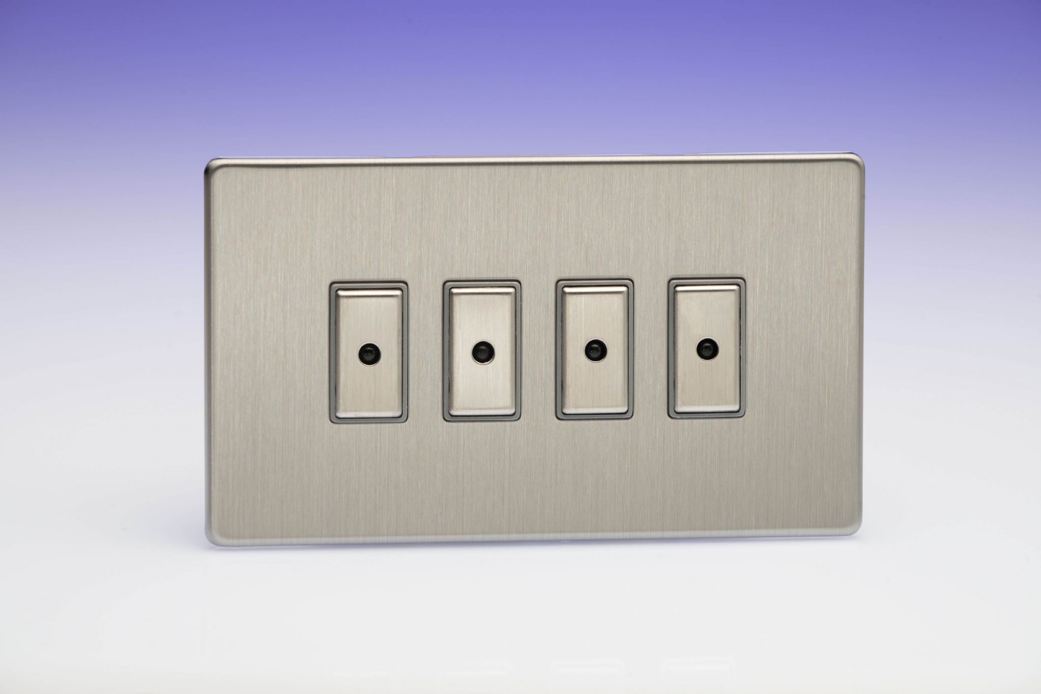 Varilight Eclique 2 Brushed Steel 4 Gang 1 Way Remote Control Touch Switch Controls Master Led Dimmer X 0 100w