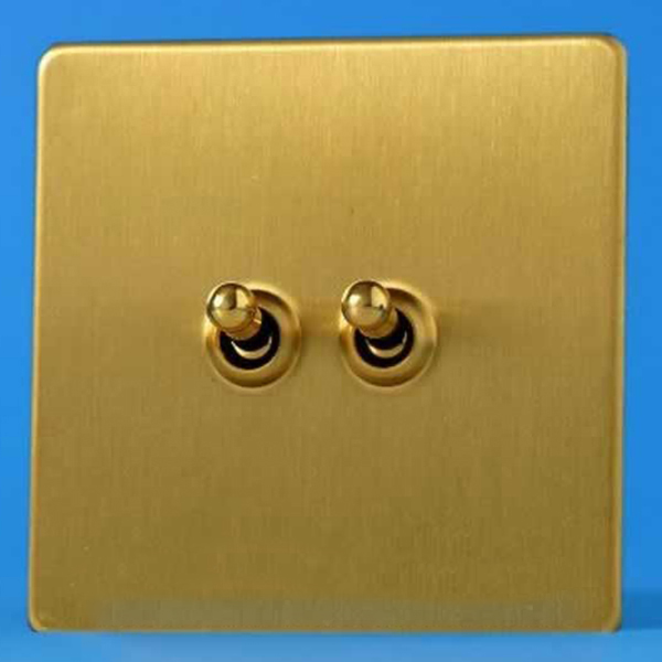 Varilight European 2 Gang 10a 1 Or 2 Way Dolly Toggle Switch Brushed Brass Xebt2s