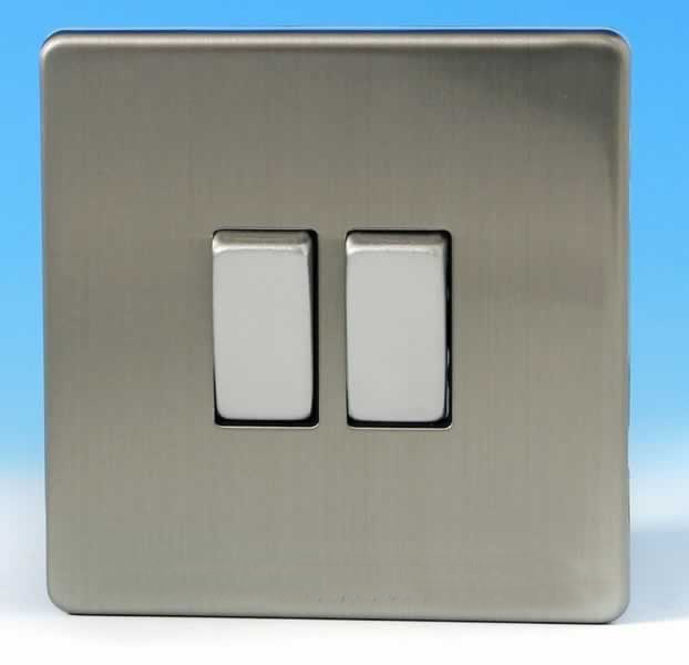 varilight euan 2 gang 10a 1 or 2 way rocker switch brushed steel 2s