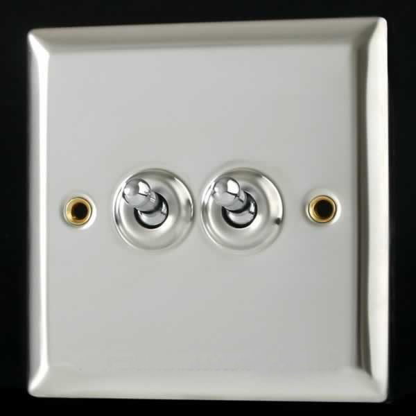Varilight Special Build 2 Gang 10a 1 Or 2 Way Intermediate Toggle Light Switch Mirror Chrome Xct71