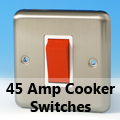 Brushed Matt Chrome - 45 Amp Cooker Switches