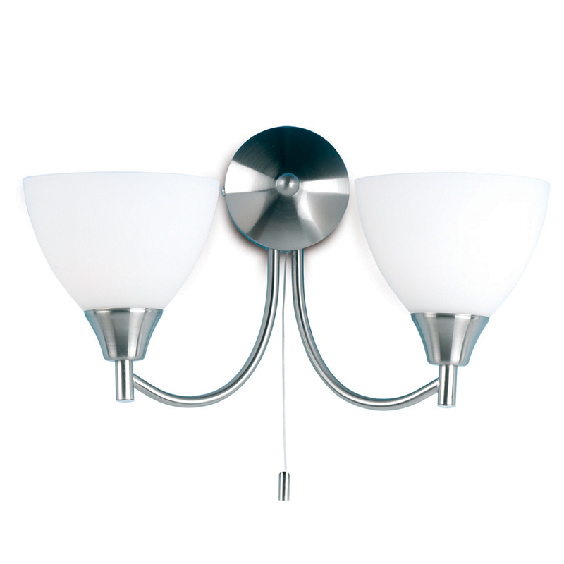 Endon Lighting 2 Arm Wall Mounted Light Fitting With Pull Chord Satin Chrome Amp Glass 1805 2sc