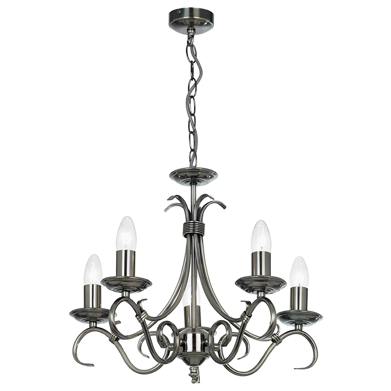 endon lighting antique silver 5 arm ceiling light fitting