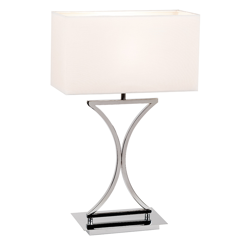 Endon Lighting Chrome Base Table Bedside Lamp With White