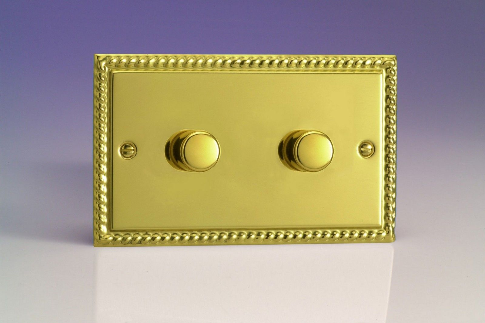 Varilight V Pro 2 Gang Way 2x600w Push On Off Led Dimmer Light Switch Georgian Brass Jgdp602